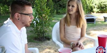 Lustful sex action with sexy teen Rachel on their Lawn