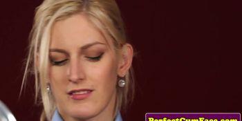 Blonde schoolgirl creamface
