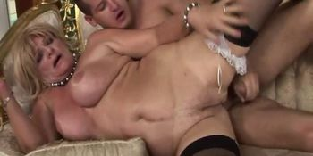 Old gilf in stockings rides hard cock