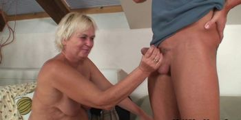 Wife leaves and he fucks old blonde