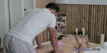 Huge tittied blonde gets massage