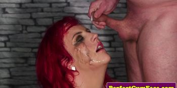 Redhead Brit cock sucking in group for bukkake