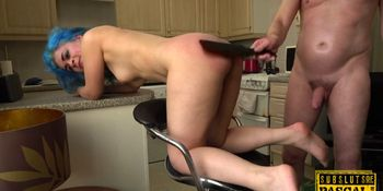 Spanked UK submissive riding dick in BDSM