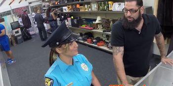 Latina cocksucks pawnbroker while in uniform