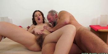Babe and old dude piss