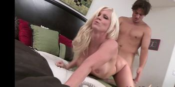 Blonde busty MILF drilled doggystyle
