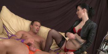European dominant babe teases bound stud