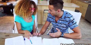 Tiny ebony Kendall Woods seduces tutoring teacher
