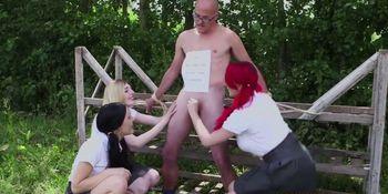 Mean cfnm schoolgirl humiliating tiedup dude