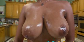 Oiled up ebony big ass ho