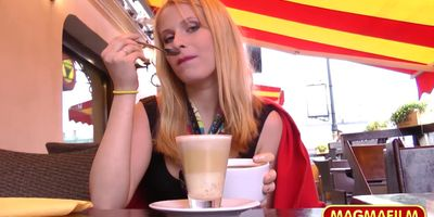 Anal German babe flashes in public