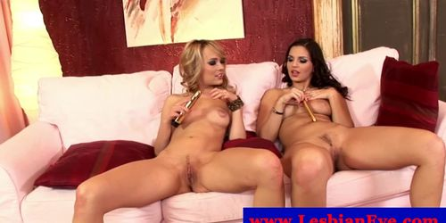 Eve Angel and Blue Angel use toy in their tight pussys