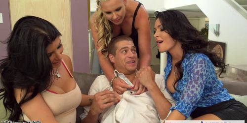 Wives Jessica Jaymes Phoenix Marie and Romi Rain fuck in foursome